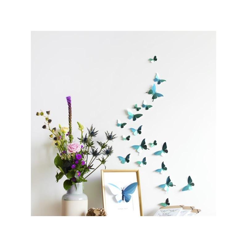 Papillons en papier - bleu