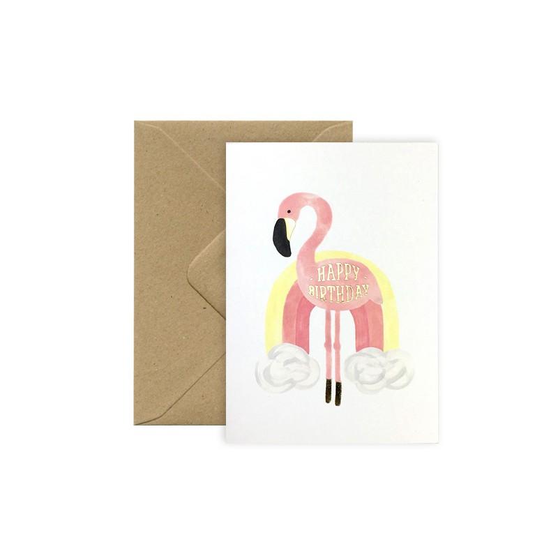 Carte Happy Birthday - Flamingo