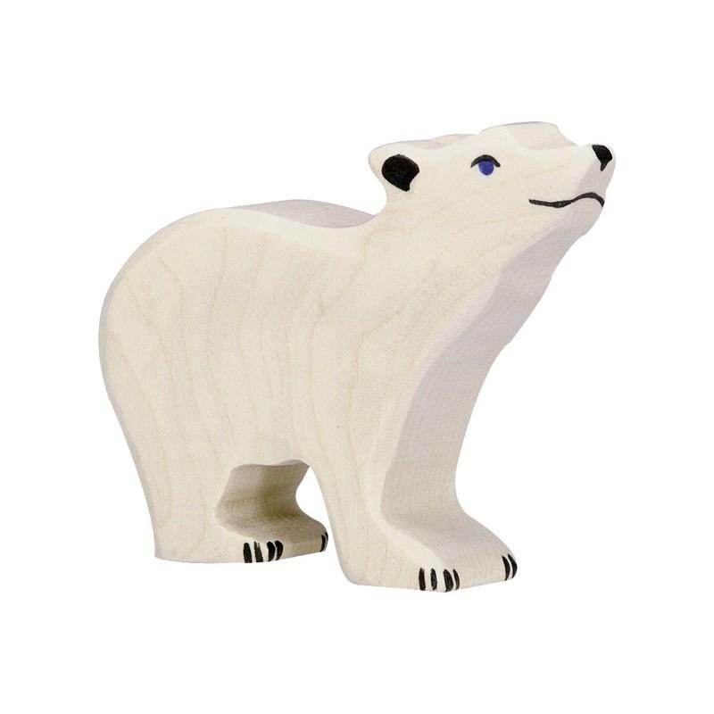 Figurine en bois - Petit ours polaire