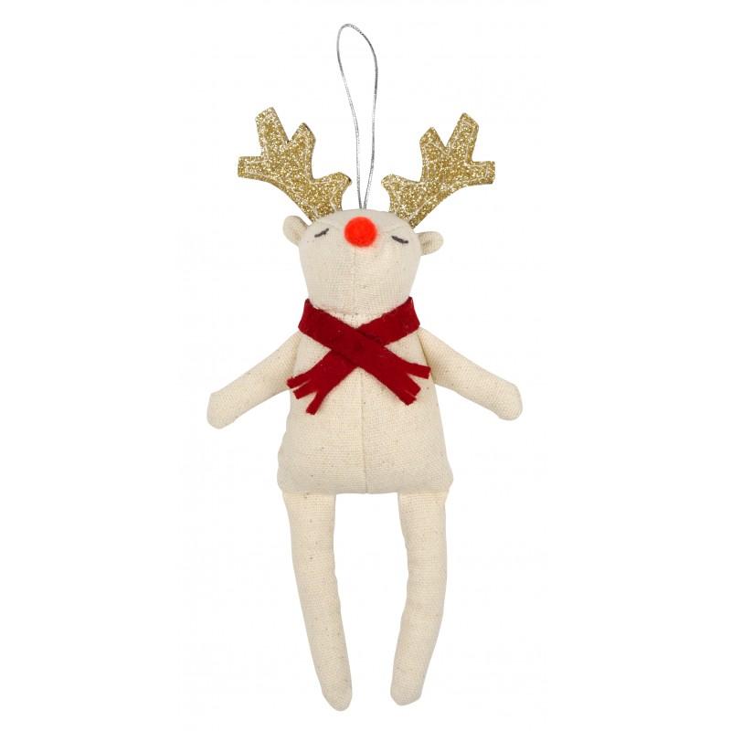 Décoration de Noël - Renne à l'écharpe rouge