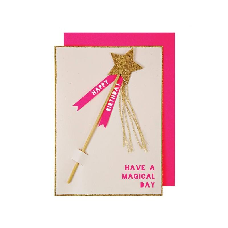 Carte d'anniversaire - Baguette magique