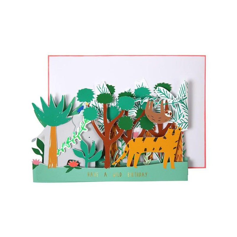 Carte d'anniversaire - Pop up Jungle