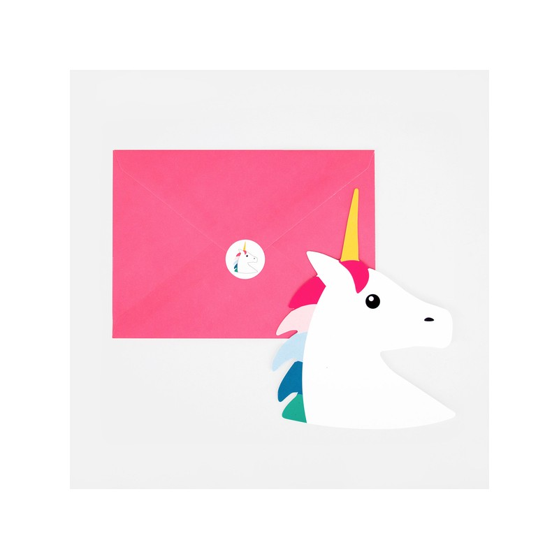 Cartons d'invitation Licorne