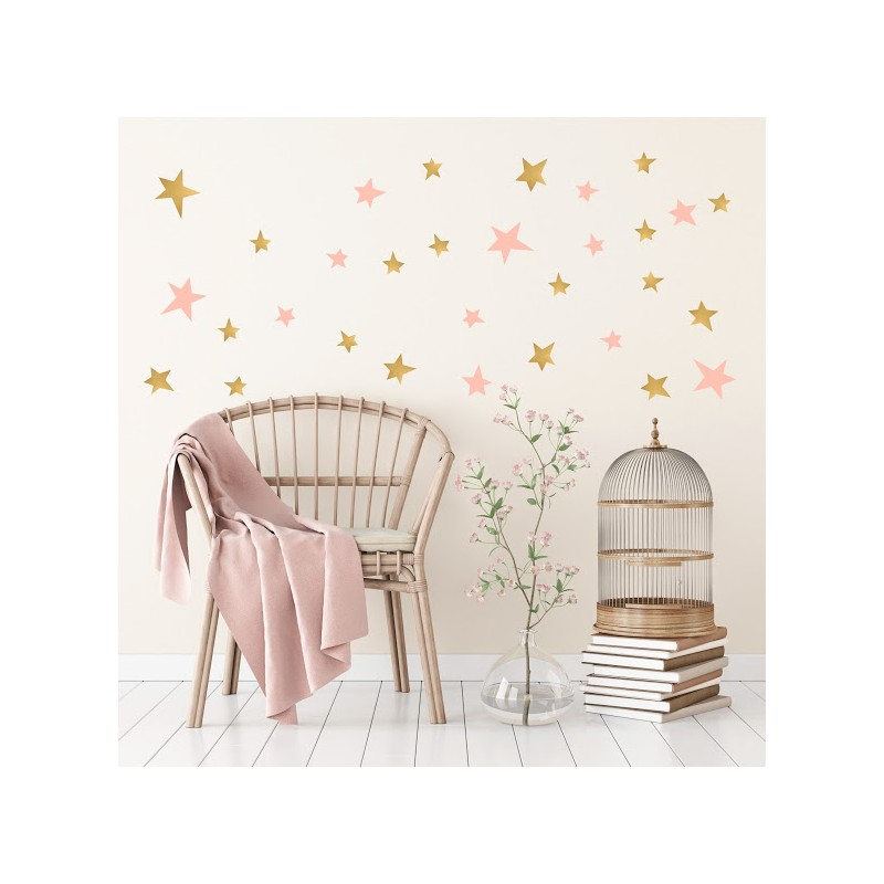 Stickers Etoiles - Or et rose