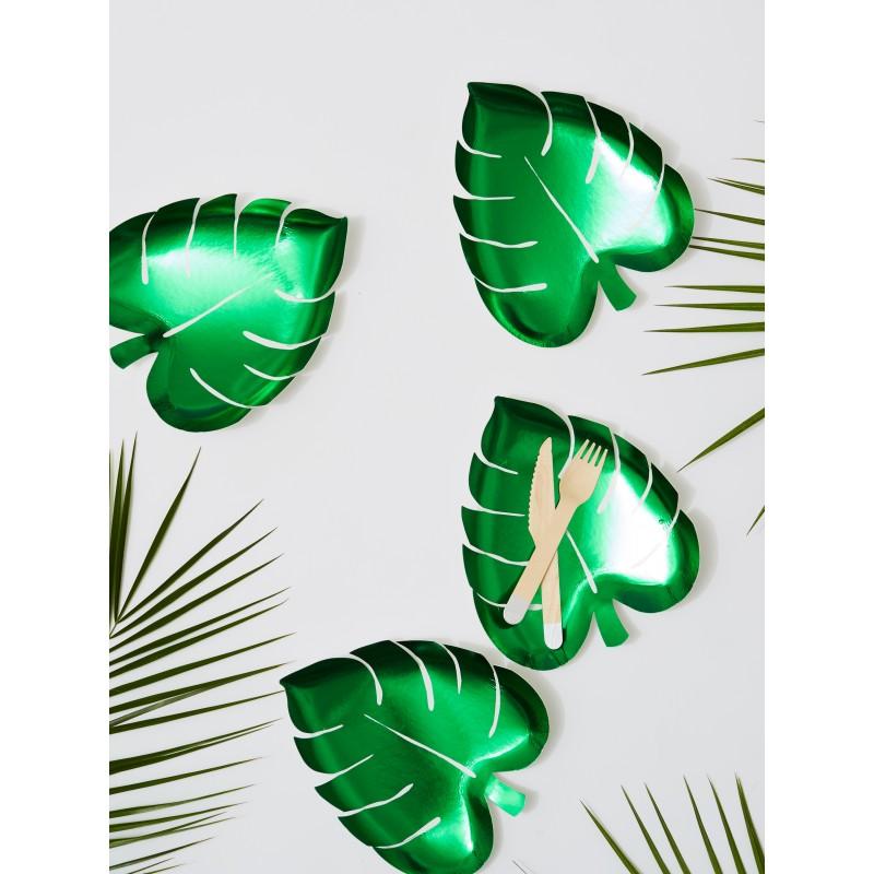 8 assiettes feuille de palmier