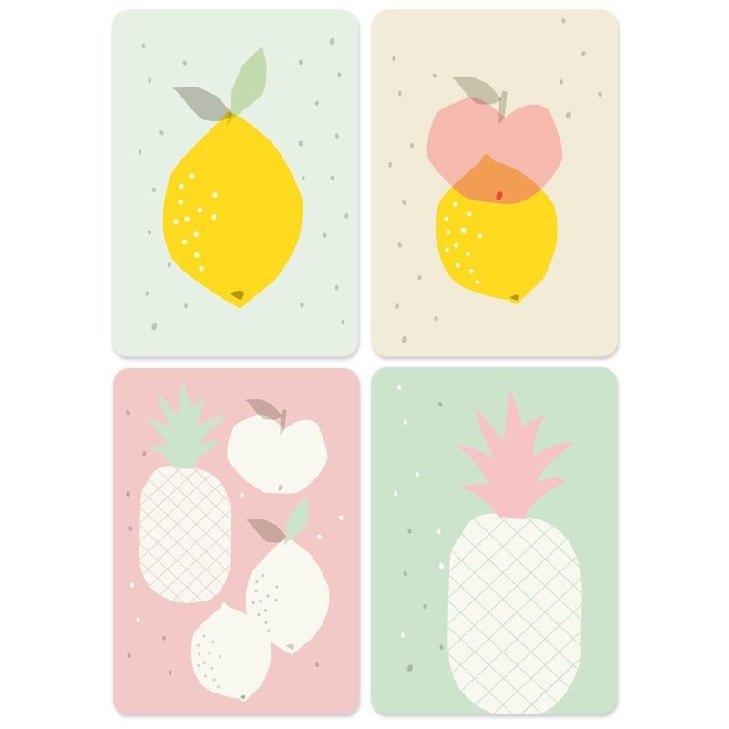 Lot de 4 cartes Fruits