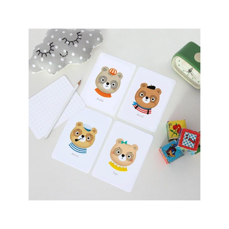 Lot de 4 cartes Ours