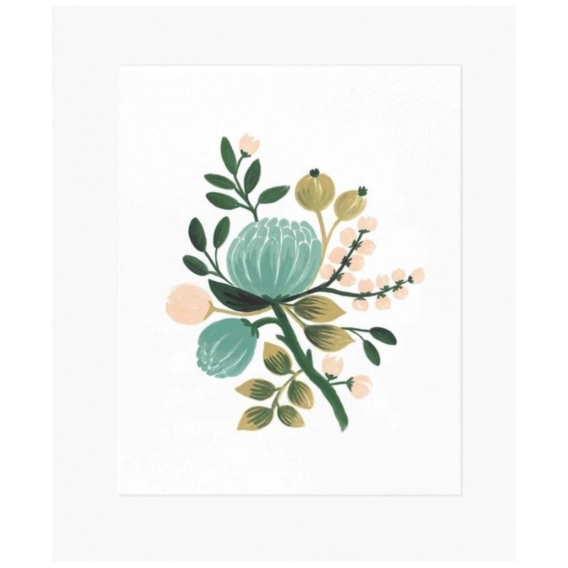 Affiche 20 x 25cm - Fleurs Blue Botanical
