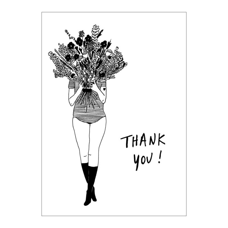 Carte double de remerciement - Flower girl