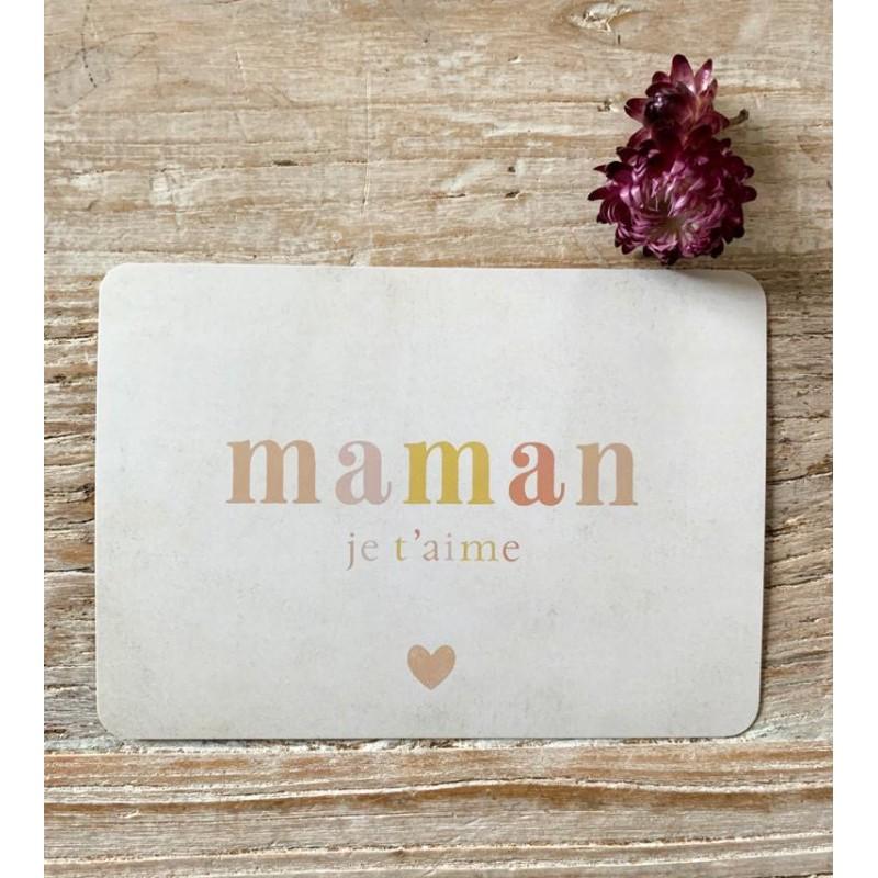 Carte Postale Maman Je t'aime - Arc en ciel