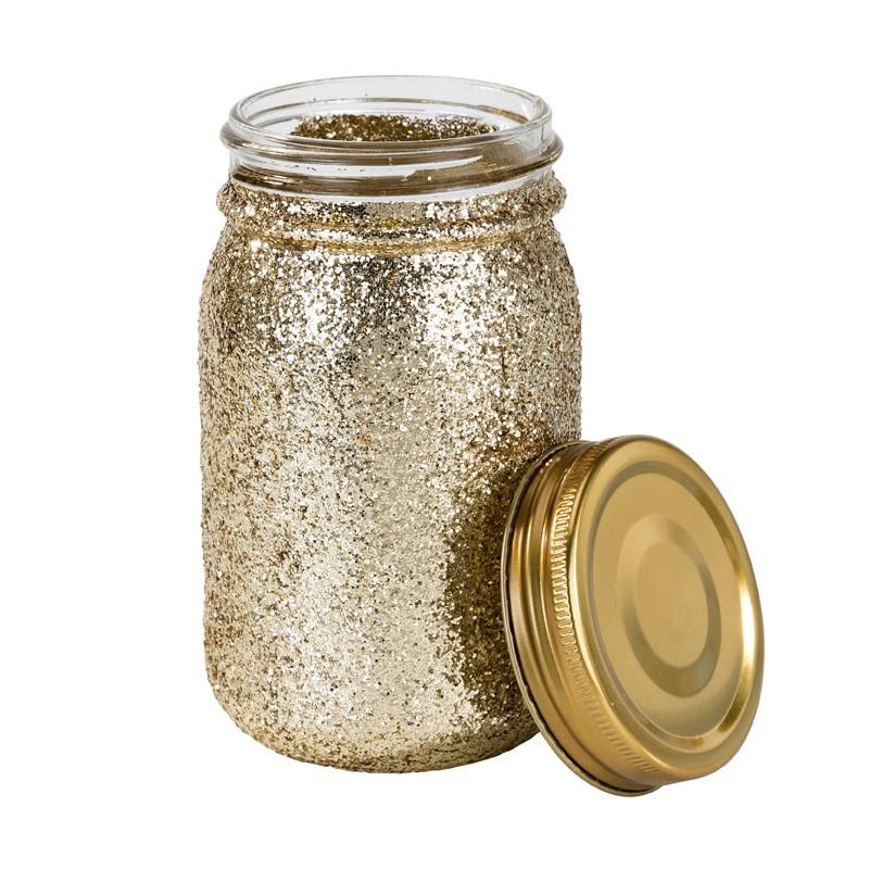Pot à paillettes dorées