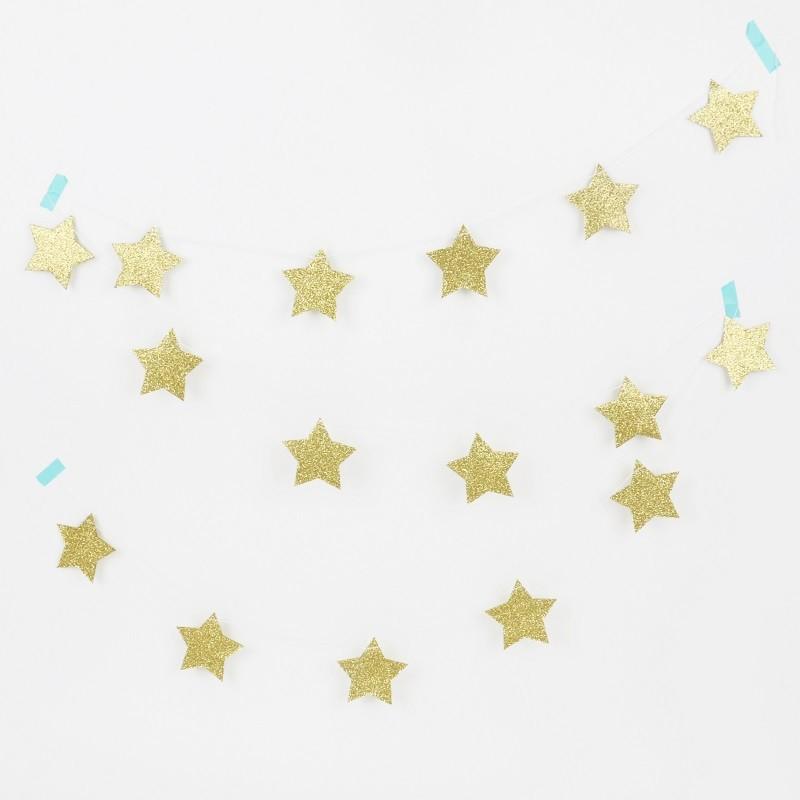 Guirlande glitter - Etoiles dorées