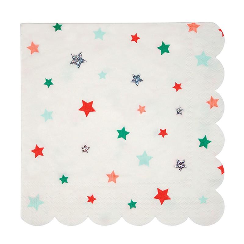 Grandes serviettes -  Etoiles de Noël