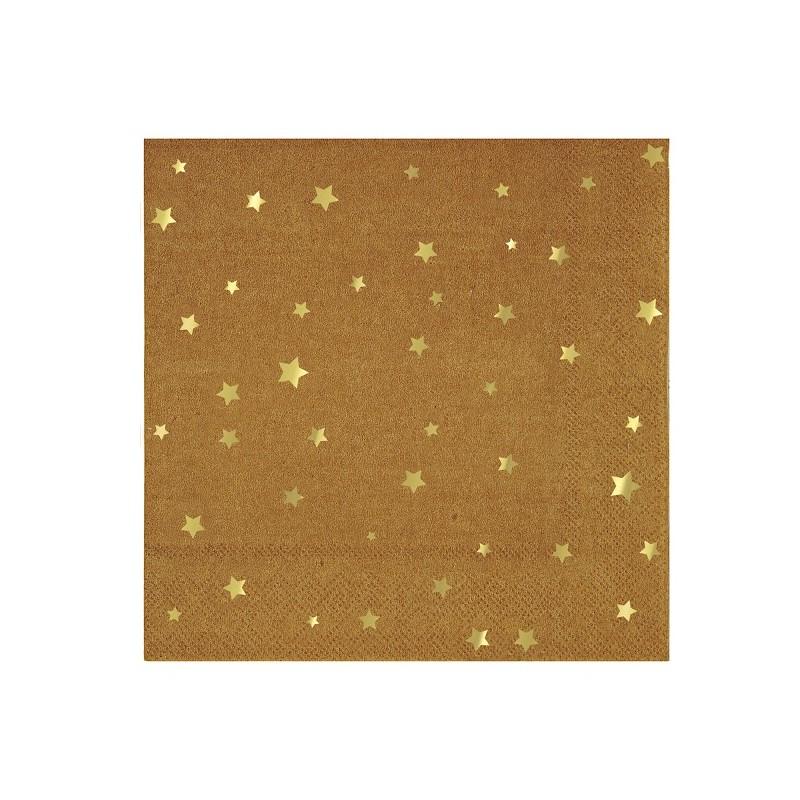 Grandes serviettes Kraft -  Etoiles dorées