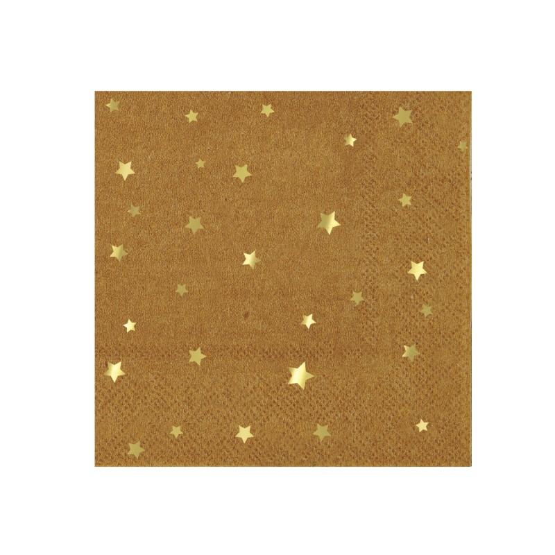 Petites serviettes Kraft -  Etoiles dorées