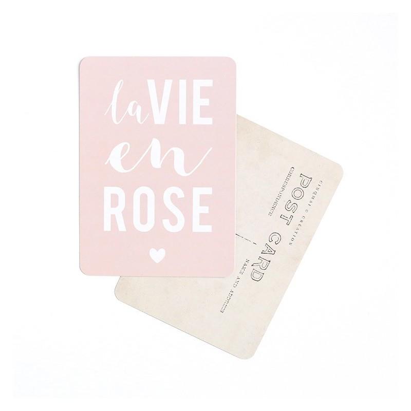 Carte Postale La vie en rose/Rose poudre
